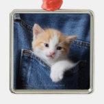 kitten in jeans bag christmas tree ornament