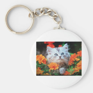 kitten in orange flowers key chain