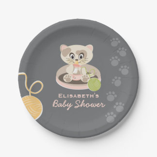 Kitten in Pink Diapers Baby Shower 7 Inch Paper Plate