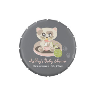 Kitten in Pink Diapers Cat Baby Shower Favor Candy Tin