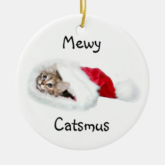 Kitten in Santa Hat Round Ceramic Decoration