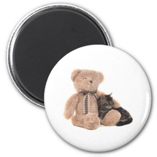 kitten in the arms off has teddy bear 6 cm round magnet