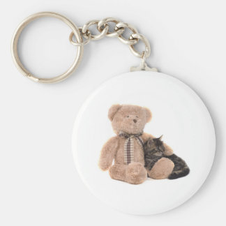 kitten in the arms off has teddy bear basic round button key ring