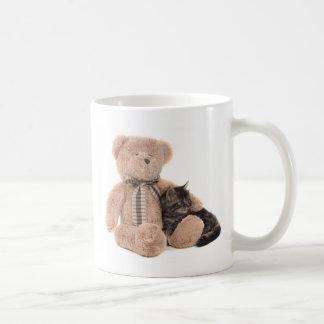 kitten in the arms off has teddy bear basic white mug