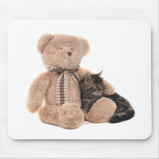 kitten in the arms off has teddy bear mouse mat