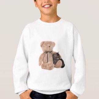 kitten in the arms off has teddy bear sweatshirt