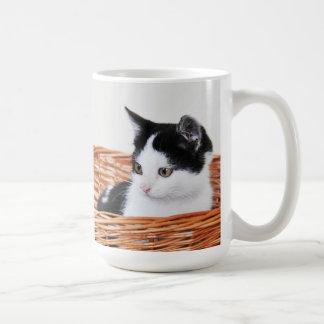 Kitten in the basket classic white coffee mug