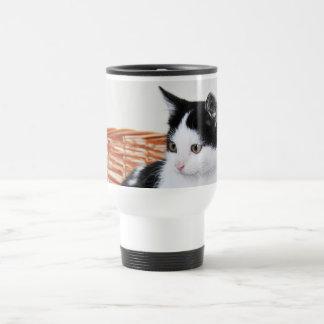 Kitten in the basket 15 oz stainless steel travel mug