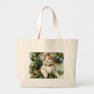 Kitten in the Christmas Tree Canvas Bag