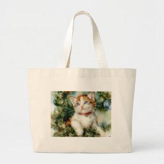 Kitten in the Christmas Tree Jumbo Tote Bag