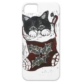 Kitten inside a Christmas Stocking – block print Case For The iPhone 5