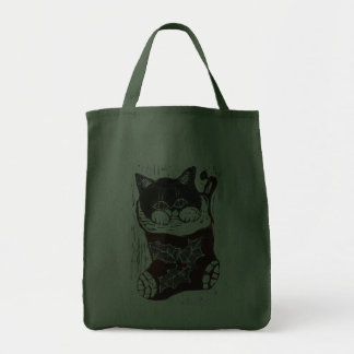 Kitten inside a Christmas Stocking Grocery Tote Bag