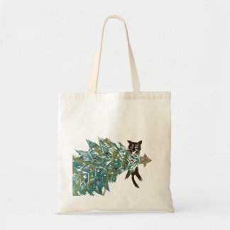 Kitten is Hanging Around the tree Budget Tote Bag