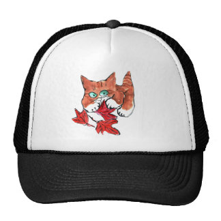 Kitten is Playing with Three Red Maple Leaves Cap