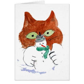 Kitten is Smacking the Snowman Candle Greeting Card