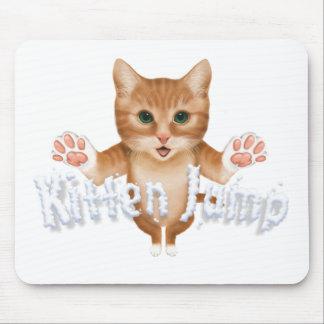 Kitten Jump Title Mouse Pads
