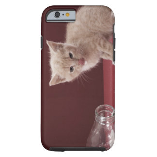 Kitten licking spilt milk from bottle tough iPhone 6 case