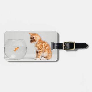 Kitten Looking At Fish In Bowl Luggage Tag