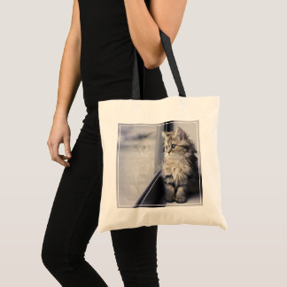 Kitten Looking Out Window Tote Bag