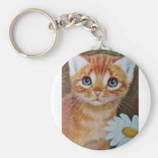 Kitten n flowers II Basic Round Button Key Ring
