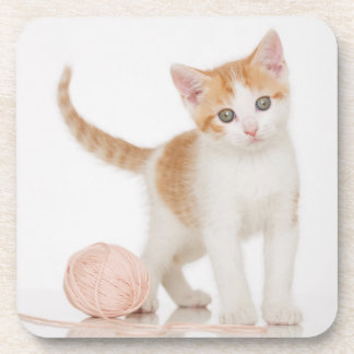 Kitten Next To Ball Of String Drink Coasters