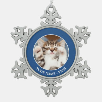 Kitten On My Lap Snowflake Pewter Christmas Ornament
