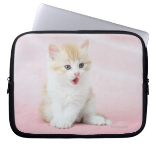 Kitten on Pink Background Laptop Sleeve
