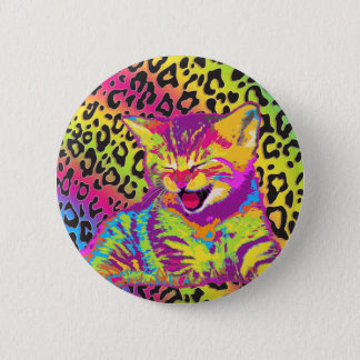 Kitten on rainbow leopard print background 6 cm round badge