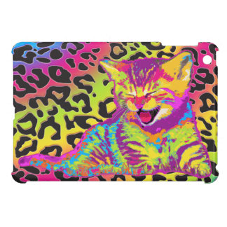 Kitten on rainbow leopard print background cover for the iPad mini