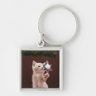 Kitten pawing Christmas decoration on tree Silver-Colored Square Key Ring