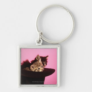 Kitten peeping out of hat Silver-Colored square key ring