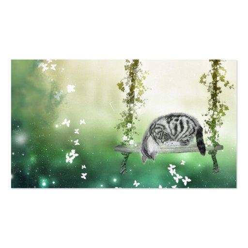 Kitten playing business card templates