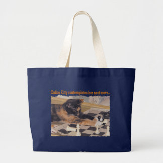 Kitten Playing Chess Large Tote Bag