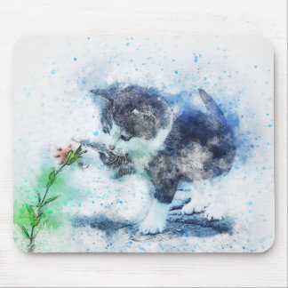Kitten Playing with Flower | Abstract | Watercolor Mouse Mat