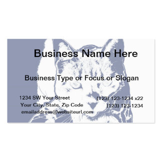 kitten posterized blue white neat feline cat image business card templates