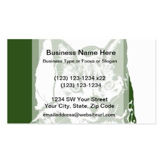kitten posterized green white cat feline design business card template