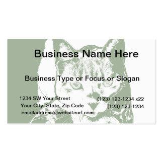 kitten posterized green white cat feline design business card
