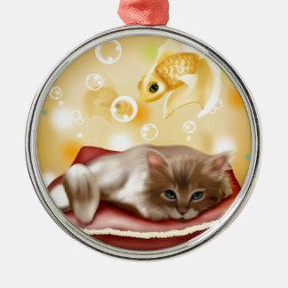 Kitten Relaxing Christmas Ornament