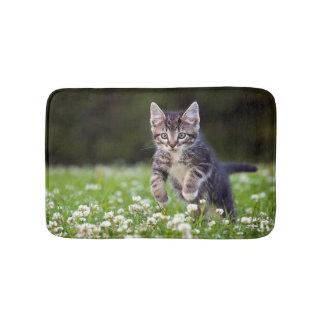 Kitten Running Through Clover Bath Mat