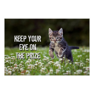 Kitten Running Through Clover Poster