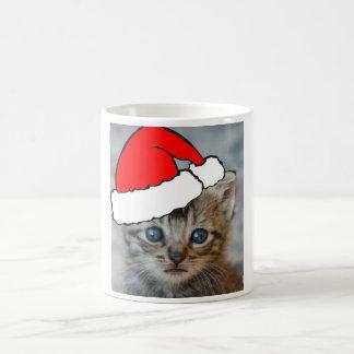 Kitten santa hat mug