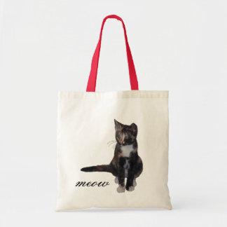 kitten saying meow tote bags