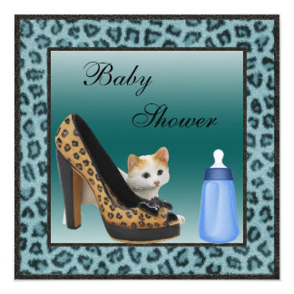 Kitten, Shoe & Bottle Blue Fur Texture Baby Shower 13 Cm X 13 Cm Square Invitation Card