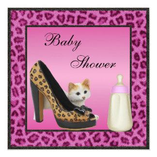 Kitten, Shoe & Bottle Pink Fur Texture Baby Shower 13 Cm X 13 Cm Square Invitation Card