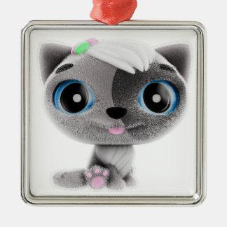 Kitten Silver-Colored Square Decoration