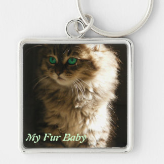 Kitten Silver-Colored Square Key Ring