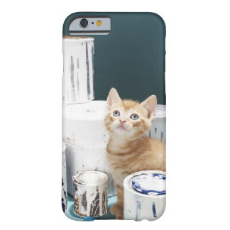 Kitten sitting amongst paint tins barely there iPhone 6 case