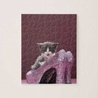 Kitten sitting in glitter shoes jigsaw puzzle