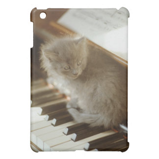 Kitten sitting on piano keyboard, close-up iPad mini case