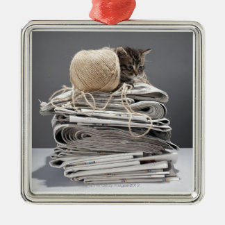 Kitten sitting on pile of newspapers christmas ornament
